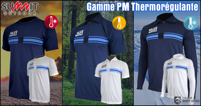 Nouveautés : tee-shirts et polos Police Municipale thermo-régulants SUMMIT OUTDOOR