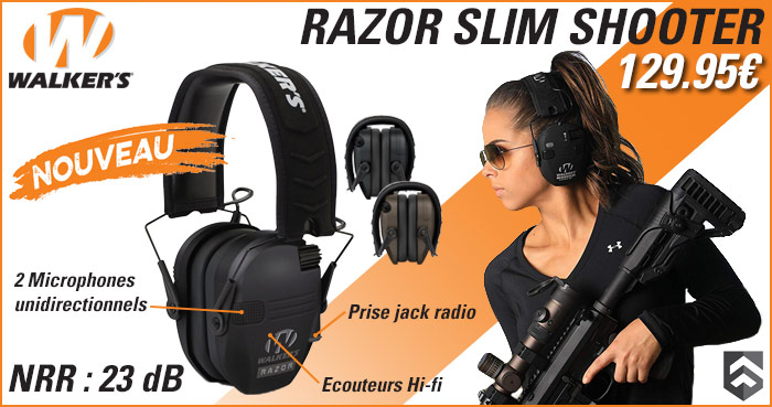 Casque de protection auditive active Razor Slim Shooter par Walker's