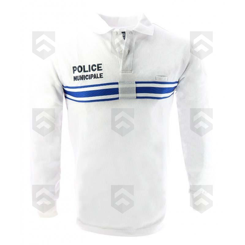 d3d37c4a8e Polo Police Municipale Manches Longues Blanc - Group Army Store