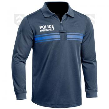 Polo Police Municipale Respirant Manches Longues Bleu Marine PM ONE