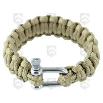 Bracelet de survie Paracorde 23 mm Coyote Tan fermoir Manille