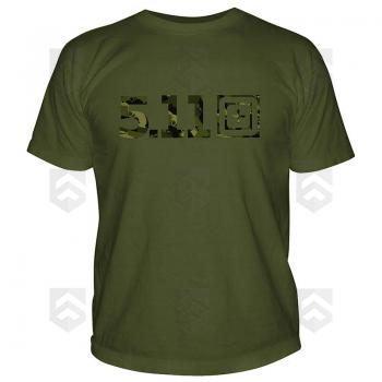 Vente T-shirt manches courtes Camo Logo 5.11 Vert OD / Magasin 5.11 Tactical Series