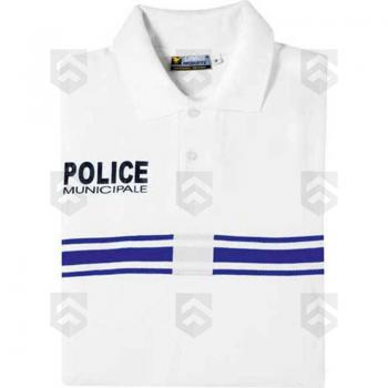 Polo Police Municipale Manches Courtes Blanc