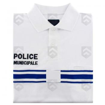 Polo Police Municipale Respirant Manches Longues Blanc